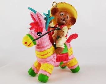 Vintage Treasury Christmas Ornament Enesco / Pinata Ridin / 1st in Miguel Mouse Series / 1989 / Donkey Reindeer Pinata