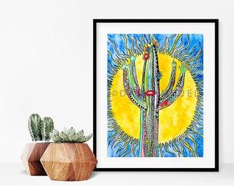 Colorful Watercolor Desert Landscape Print/Watercolor cactus art print/Southwest Art/Desert Painting/Saguaro Cactus