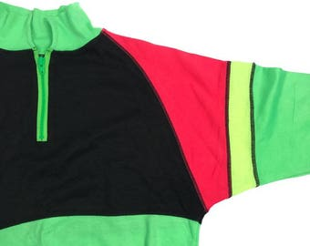 Vintage 90s Neon Colour Block Zip 3/4 Sweater Jumper Top ONE SIZE