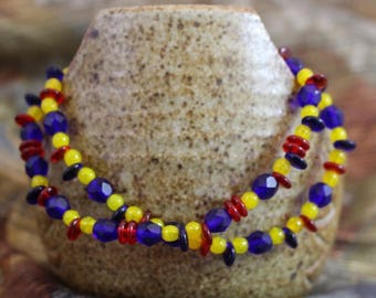 Viking inspired double strand bracelet,Czech glass red, yellow and blue beads,silver plated lobster clasp and twist rings,B161