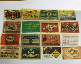 Vintage Matchbox Labels Assorted 16