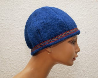 CAP, Viking, RUS, embroidered, herringbone, Gr. 59, wool, linen