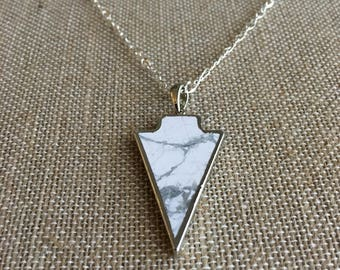 Silver White Marble Arrow Head Necklace