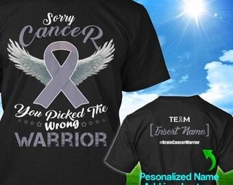 Personalized Brain Cancer Awareness Tshirt Grey Ribbon Warrior Support Survivor Custom T-shirt Strong Apparel Unisex Women Youth Kids Tee