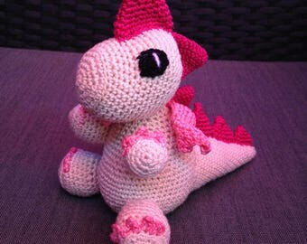 Beige and Pink Crochet Dragon