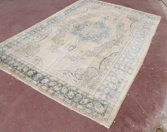 free ship rug,10'9''x7'1''overdyed rug,faded oushak rug,vintage decorative rug modern beige rug,333x218,boho rug,big size turkish rug