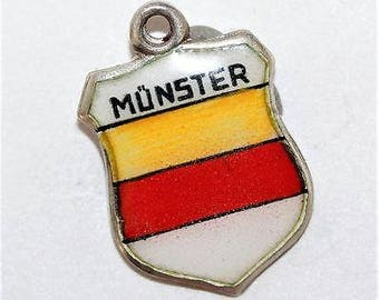Vintage 800 Silver Enamel Travel Shield Bracelet Charm Munster Germany