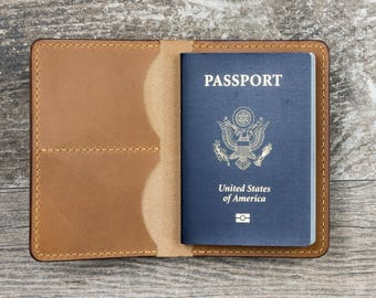 Passport Cover / Passport Holder / Passport Wallet / Travel Wallet / Full Grain Leather / Made in USA / Gifts for Him / Buttero / Tan