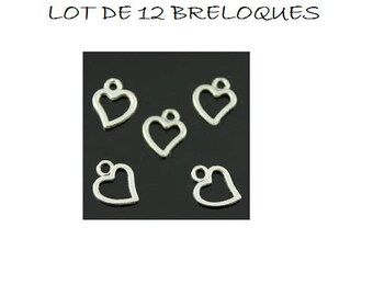 set of 12 charms minimalist little silver heart (E04)