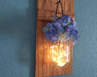 Rustic Wall Decor, Mason Jar Sconce, Lighted Mason Jars, Wall Sconce, Rustic Home Decor, Wall Hangings, Housewarming Gift, Home & Living