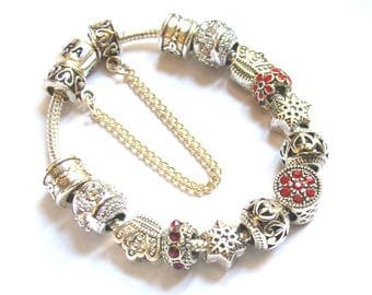 Pandora Style bracelet with red and silver Charms