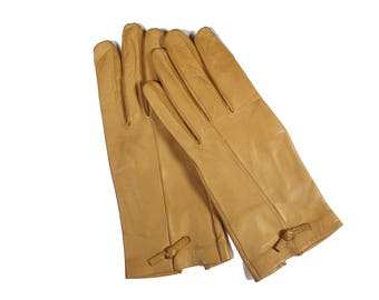 Vintage Tan Leather Gloves Size 6 3/4