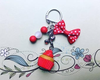 Red Cupcake - polymer clay keychain