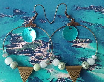 Beads and bronze earrings