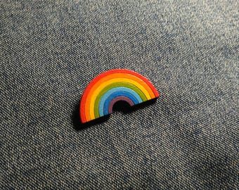 Rainbow brooch. Rainbow pin. Multicolour pin. Wooden rainbow badge. Rainbow jewelry. Gift for her. Wooden rainbow accessory.