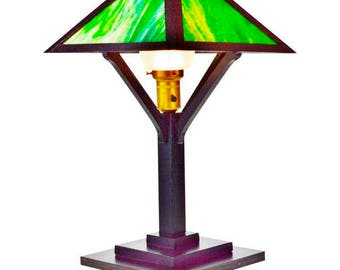 Vintage Mission Arts & Crafts Slag Glass Table Lamp