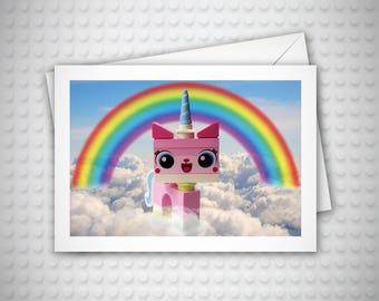 Lego Birthday Card, UniKitty, Card for Her, Lego Invitation, Funny Birthday Card, Card for Girlfriend, Rainbow, Cat Lover Gift, Lego Movie