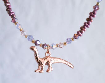 Rose Gold and Crystal Brontosaurus Beaded Necklace