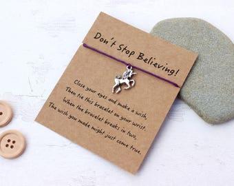 Unicorn Wish Bracelet, Unicorn Jewellery, Don't Stop Believing, Unicorn Friendship Bracelet, Unicorn Bracelet, Unicorn Gift