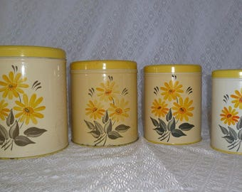 Vintage Canister Set Yellow Daisy Metal Tins Floral Kitchen Daisies Nesting