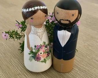 Wedding cake topper // Peg doll cake topper // Custom peg dolls