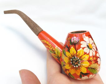 Smoking pipe, Handpainted pipe, Tobacco pipe, Orange pipe, Flower pipe, Wooden pipe, Sunflower pipe, Carved pipe, Yellow pipe, Peace-pipe