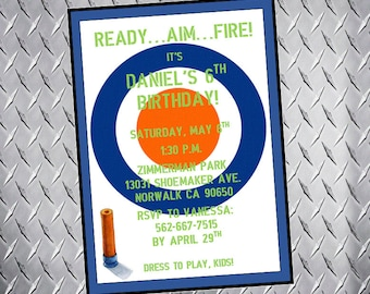 Nerf Birthday Invitation, Nerf Gun Party, Dart Gun party, boy's birthday invitation, nerf wars party, dart gun birthday invite, digital file