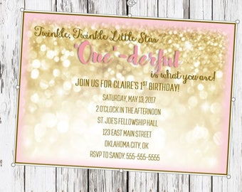 Twinkle Twinkle Little Star, One-derful is what you are, first birthday invitation, girl's first birthday, pink and gold, gold glitter