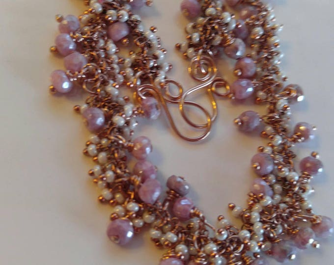 Pink Sapphire necklace, white cluster pearl necklace, rose gold necklace. Hand-crafted jewelry, Pink Silverite, Sapphire cluster necklace