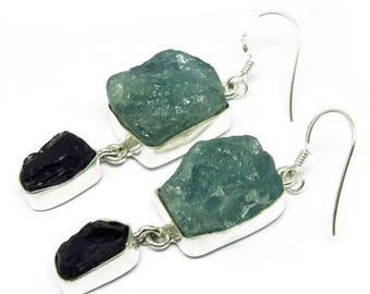 Handmade Earrings, Aquamarine Earrings, Rough Stone Earrings, Amethyst Earrings, Dual Stone Earrings, Bezel Set Earrings, Gift For Women