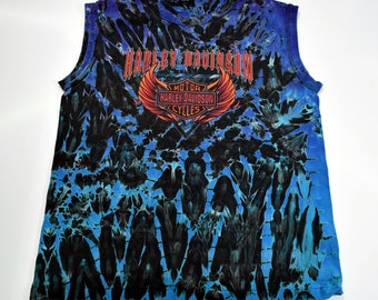 Vintage 90s Harley Davidson motorcycles Tie Dye Shield logo Sleeveless t-shirt mens Medium 1994 Single stitch
