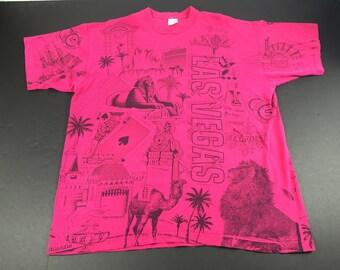 Vintage 1994 Las Vegas casinos all over print t-shirt mens XXL