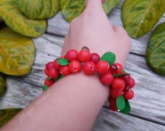 Realistic berry jewelry, Bracelet with lingonberry (cranberry), Berry's bracelet, lingonberry gift polymer jewelry, Rustic bracelet