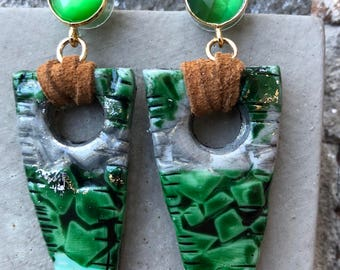 Unique Earrings ~ Artwork ~ Green Earrings ~ Drop Earrings ~ For Her
