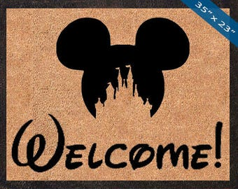 Welcome! Mickey Mouse Silhouette, Custom Disney DoorMats, Great for a Wedding, Anniversary, Birthdays, Housewarming, or Graduation Present!
