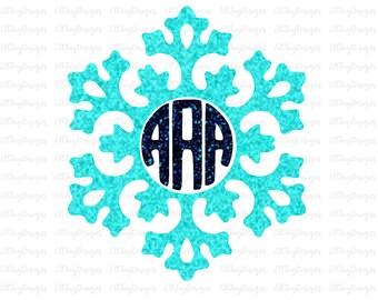 SVG snowflake monogram, christmas svg files, wreath cut file, winter cut files, cricut cut files, silhouette cut files, winter svg files