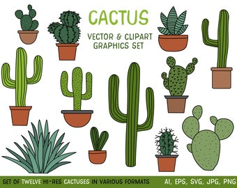 Cactus Clipart Set, Hand Drawn Clip Art Illustrations of Desert Cacti Plants in Pots - Commercial use JPG, PNG and Vector download