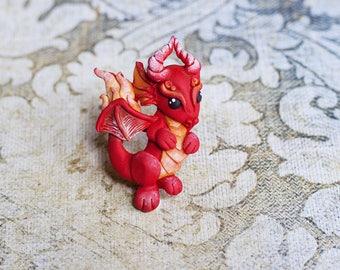 Fire Dragon, brooch with dragon, cute red dragon, dragon polymer clay