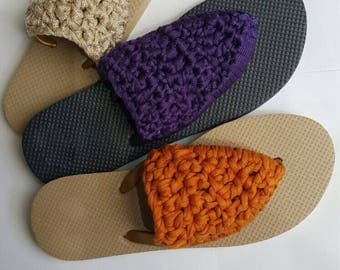 Handmade Crochet Flip Flops (with fabric yarn)