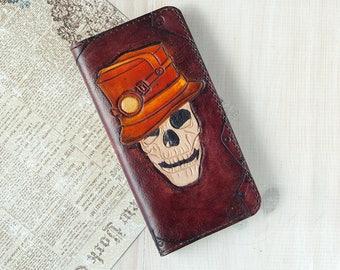 Steampunk skull head wallet Mens biker skull wallets Halloween clutch skeleton long leather wallet thin gothic wallet dead style wallet