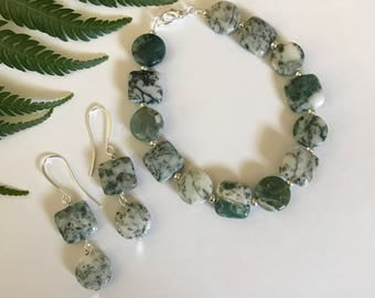 Green and White Tree Agate Circle and Square Bracelet and Earring Jewelry Set