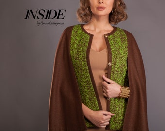 Cape coat, wool cape coat, womens cape, poncho cape