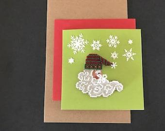 Beaded Santa Pin on a Greeting Card