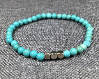 Turquoise 4mm Bead Bracelet with Silver Cube beads