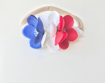 Patriotic, Fourth of July, Red White and Blue Flower Headband