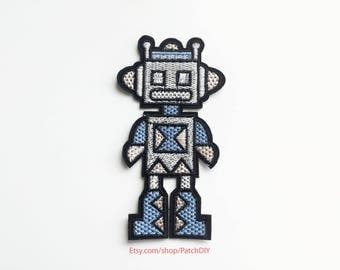 "Patch ROBOT blue gray black iron on embroidered applique toy for kids boy girl christmas present joy 4.5"" x 2.5"""