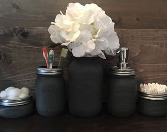 Mason Jar Bathroom Set in Charcoal Grey