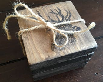 Stag Deer Wood Coasters