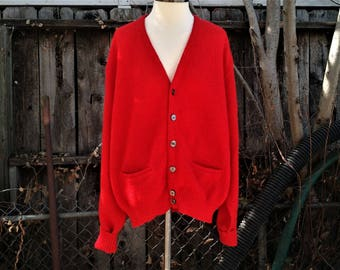 Vintage Mr. Rogers Style 1980s 100% Alpaca Knit Cardigan Size Large Free USA Shipping