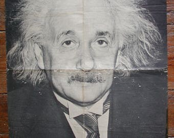 Albert Einstein Original Vintage Poster dated 1966, Large, Photography Portrait, Personality Poster.